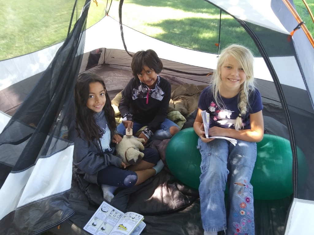 Reading in the tent during lunch time