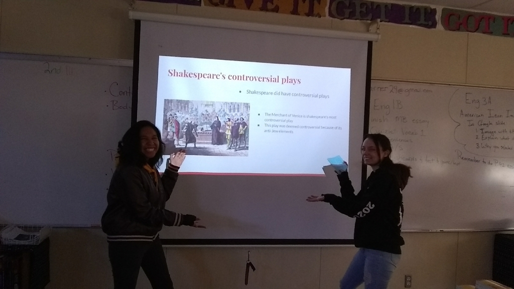 Shakespeare research presentation in Conrad's senior class. following the flipped classroom model students are teaching students.