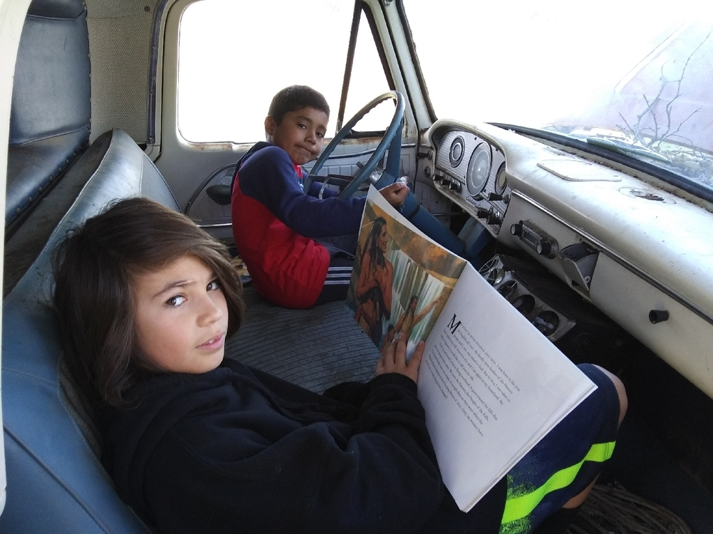 Reading in the 1954 Ford truck